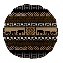 Elephant African Vector Pattern Large 18  Premium Flano Round Cushions