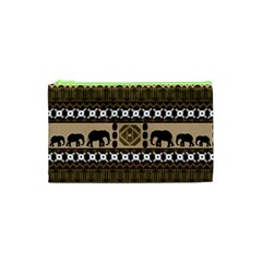 Elephant African Vector Pattern Cosmetic Bag (xs)