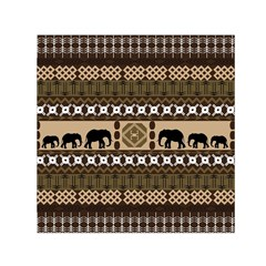 Elephant African Vector Pattern Small Satin Scarf (square)