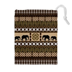 Elephant African Vector Pattern Drawstring Pouches (extra Large)