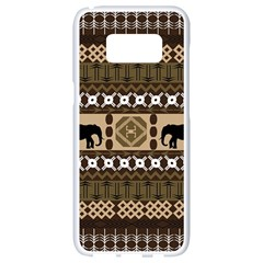 Elephant African Vector Pattern Samsung Galaxy S8 White Seamless Case