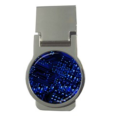Blue Circuit Technology Image Money Clips (round)