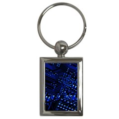 Blue Circuit Technology Image Key Chains (rectangle)