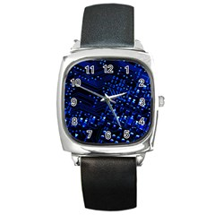 Blue Circuit Technology Image Square Metal Watch
