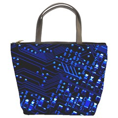 Blue Circuit Technology Image Bucket Bags