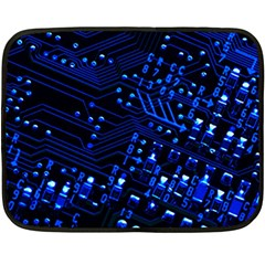 Blue Circuit Technology Image Double Sided Fleece Blanket (mini)