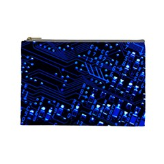 Blue Circuit Technology Image Cosmetic Bag (large)
