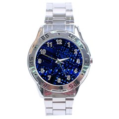 Blue Circuit Technology Image Stainless Steel Analogue Watch