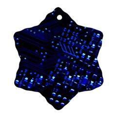 Blue Circuit Technology Image Ornament (snowflake)