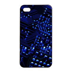 Blue Circuit Technology Image Apple Iphone 4/4s Seamless Case (black)