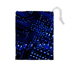 Blue Circuit Technology Image Drawstring Pouches (large)