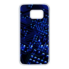 Blue Circuit Technology Image Samsung Galaxy S7 White Seamless Case