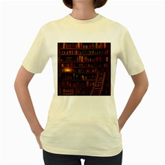 Books Library Women s Yellow T Shirt