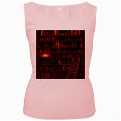 Books Library Women s Pink Tank Top