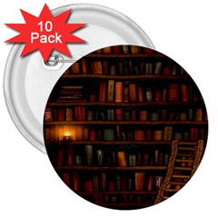 Books Library 3  Buttons (10 Pack)