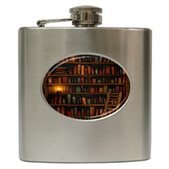 Books Library Hip Flask (6 Oz)
