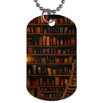 Books Library Dog Tag (Two Sides) Front