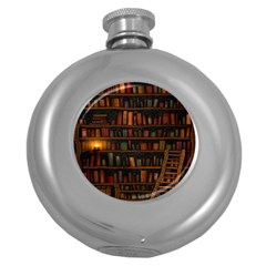 Books Library Round Hip Flask (5 Oz)