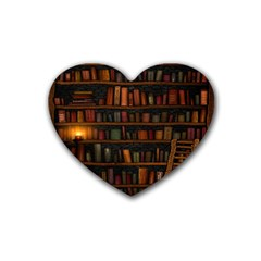 Books Library Heart Coaster (4 Pack)