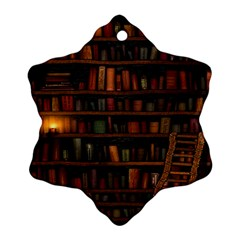 Books Library Snowflake Ornament (two Sides)