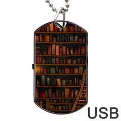 Books Library Dog Tag Usb Flash (two Sides)