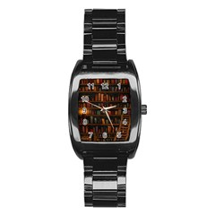 Books Library Stainless Steel Barrel Watch