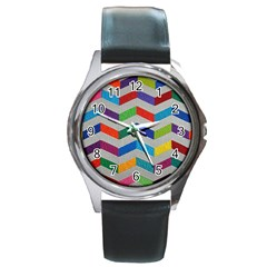 Charming Chevrons Quilt Round Metal Watch