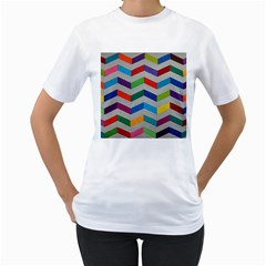 Charming Chevrons Quilt Women s T Shirt (white) (two Sided)