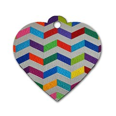 Charming Chevrons Quilt Dog Tag Heart (one Side)