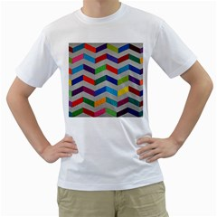 Charming Chevrons Quilt Men s T Shirt (white)