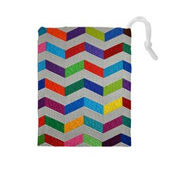 Charming Chevrons Quilt Drawstring Pouches (large)
