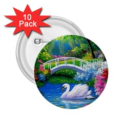 Swan Bird Spring Flowers Trees Lake Pond Landscape Original Aceo Painting Art 2 25  Buttons (10 Pack)