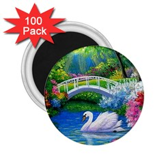 Swan Bird Spring Flowers Trees Lake Pond Landscape Original Aceo Painting Art 2 25  Magnets (100 Pack)