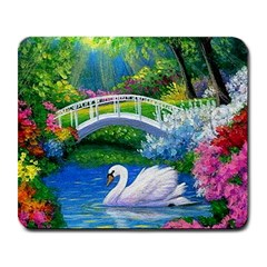 Swan Bird Spring Flowers Trees Lake Pond Landscape Original Aceo Painting Art Large Mousepads