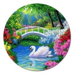 Swan Bird Spring Flowers Trees Lake Pond Landscape Original Aceo Painting Art Magnet 5  (round)