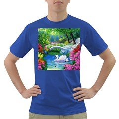 Swan Bird Spring Flowers Trees Lake Pond Landscape Original Aceo Painting Art Dark T Shirt