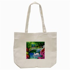 Swan Bird Spring Flowers Trees Lake Pond Landscape Original Aceo Painting Art Tote Bag (cream)