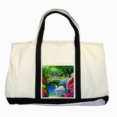 Swan Bird Spring Flowers Trees Lake Pond Landscape Original Aceo Painting Art Two Tone Tote Bag
