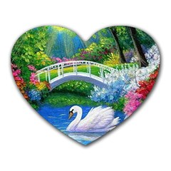 Swan Bird Spring Flowers Trees Lake Pond Landscape Original Aceo Painting Art Heart Mousepads