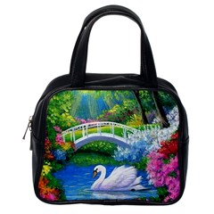 Swan Bird Spring Flowers Trees Lake Pond Landscape Original Aceo Painting Art Classic Handbags (one Side)