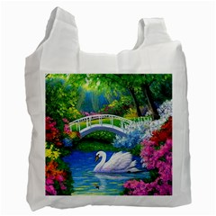 Swan Bird Spring Flowers Trees Lake Pond Landscape Original Aceo Painting Art Recycle Bag (two Side)