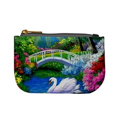 Swan Bird Spring Flowers Trees Lake Pond Landscape Original Aceo Painting Art Mini Coin Purses