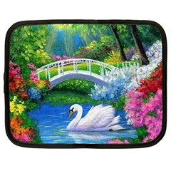 Swan Bird Spring Flowers Trees Lake Pond Landscape Original Aceo Painting Art Netbook Case (xl)