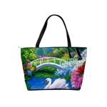 Swan Bird Spring Flowers Trees Lake Pond Landscape Original Aceo Painting Art Shoulder Handbags Back