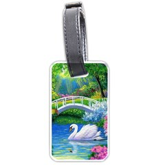 Swan Bird Spring Flowers Trees Lake Pond Landscape Original Aceo Painting Art Luggage Tags (two Sides)