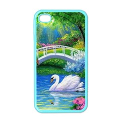 Swan Bird Spring Flowers Trees Lake Pond Landscape Original Aceo Painting Art Apple Iphone 4 Case (color)