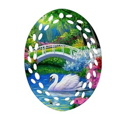 Swan Bird Spring Flowers Trees Lake Pond Landscape Original Aceo Painting Art Oval Filigree Ornament (two Sides)