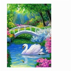 Swan Bird Spring Flowers Trees Lake Pond Landscape Original Aceo Painting Art Small Garden Flag (two Sides)
