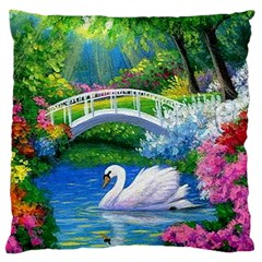 Swan Bird Spring Flowers Trees Lake Pond Landscape Original Aceo Painting Art Large Cushion Case (two Sides)