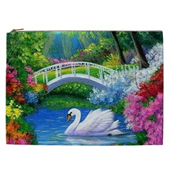 Swan Bird Spring Flowers Trees Lake Pond Landscape Original Aceo Painting Art Cosmetic Bag (xxl)